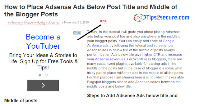 Adsense ads floating left or right hand side of posts