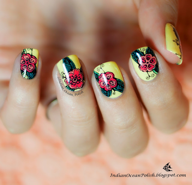 Indian Ocean Polish Colour Blocking Nails With Opi Fly: Indian Ocean Polish: Home Made Floral Nail Decals With