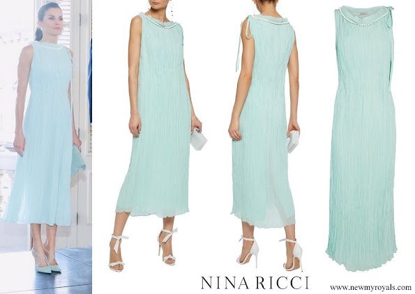Queen Letizia wore NINA RICCI Embellished plissé-silk midi dress
