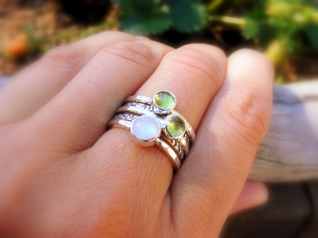 mother's stacking rings moonstone peridot