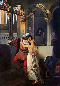 Romeo and Juliet - as depicted by Francesco Hayez in the 16th century