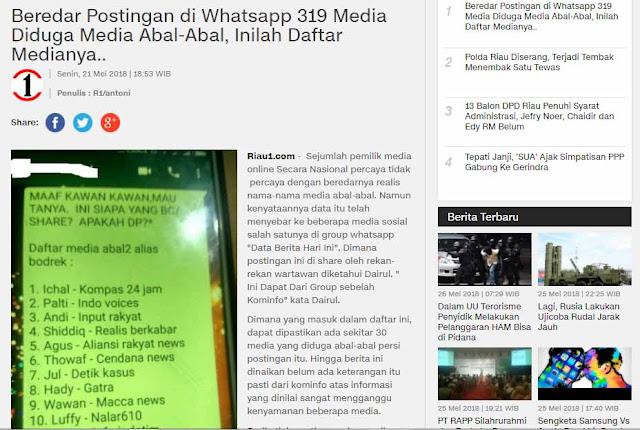 Screenshot pemberitaan Riau1.com terkait 319 media yang diduga abal-abal