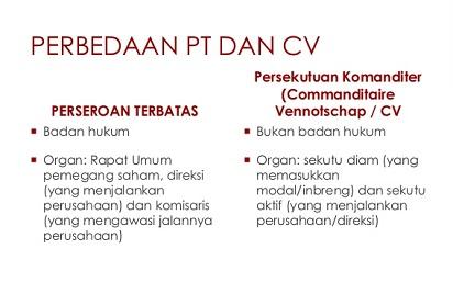 Baca Informasi Berikut Mengenai Perbedaan CV dan PT