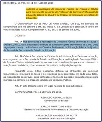 Edital Concurso SED-MS 2018 Professor