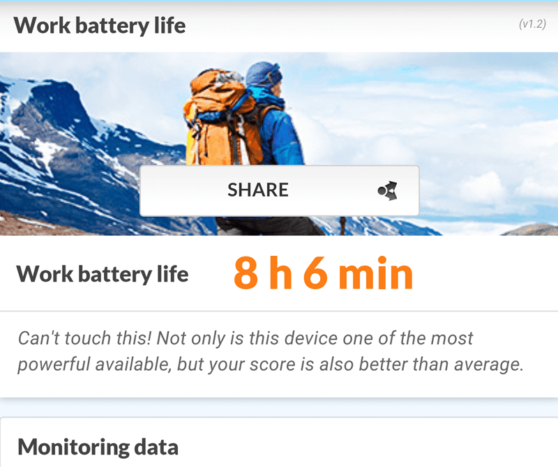 Over 8 hours of work battery life