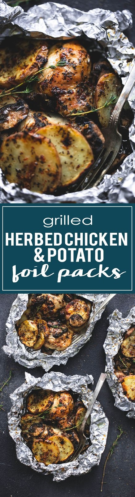 Grilled herbed chicken potato foil