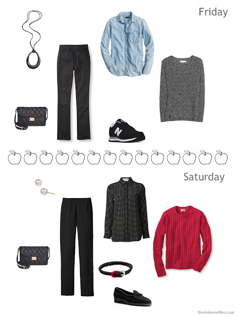 2 springtime travel outfits in black, white and red