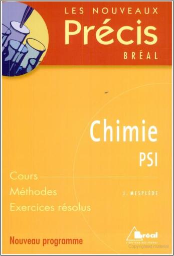 Livre : Nouveaux précis de Chimie PSI - Editions Bréal PDF