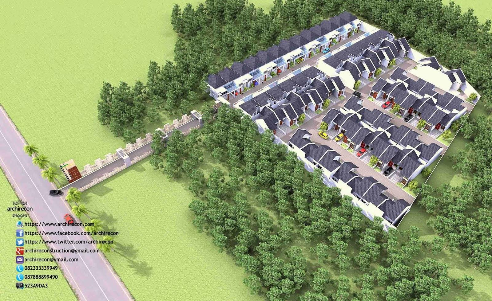 Desain Rumah Minimalis Perumahan Griya Mas Sidoarjo - 3D Kawasan