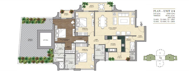 3 BHK - 2260 Sq.Ft. Flat Floor Plan Vipul Aarohan, Sector-53, Gurgaon