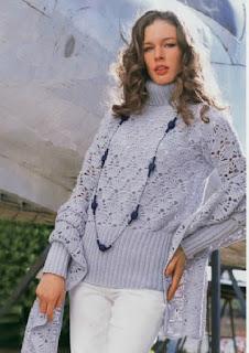 Пуловер с широкими планками и палантин