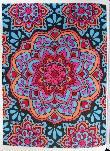 Mandalas colored with markers