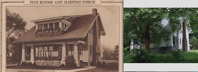Sears Sunbeam in catalog, next to image of Sear Sunbeam at 176 Churchill Road, Turtle Creek, Pennsylvania