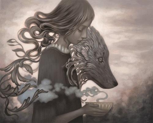 Amy Sol, mujeres con lobos, imagenes de soledad bonitas, rostros tristes, hermosas hadas con lobos, chidas de arte surrealista
