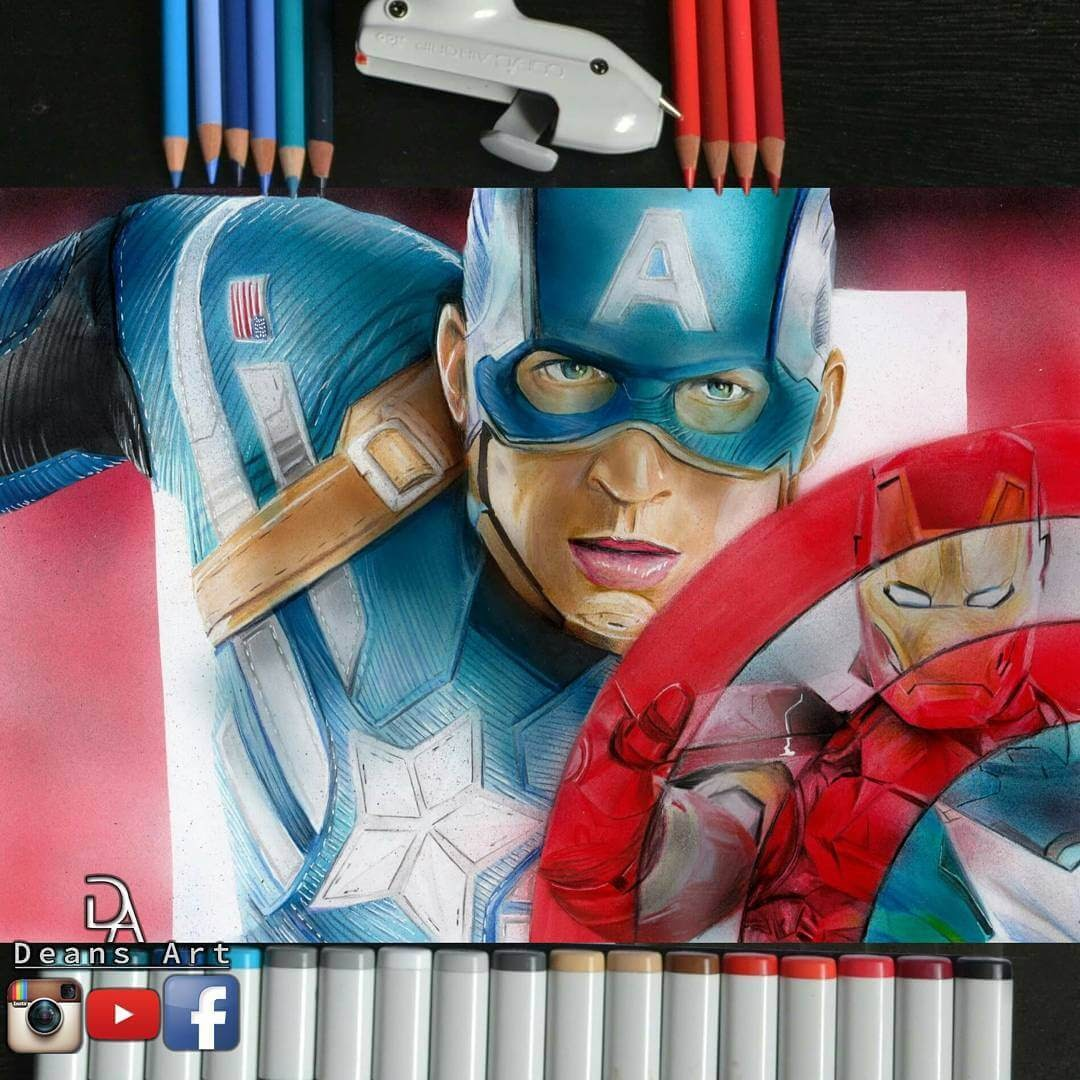 01-Captain-America-vs-Ironman-Dean-McCann-Superheroes-Villains-Monsters-and-Robot-Drawings-www-designstack-co