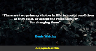 """There are two primary choices in life: to accept conditions as they exist, or accept the responsibility for changing them""  ― Denis Waitley"