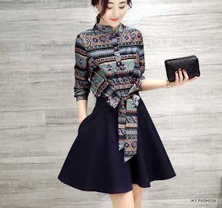 Model Dress Pendek Motif Batik cewek kekinian