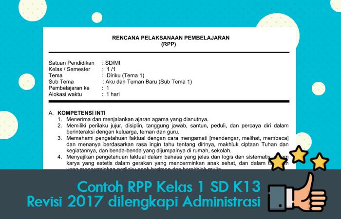 Contoh RPP Kelas 1 SD Kurikulum 2013 Revisi 2017 dilengkapi Administrasi
