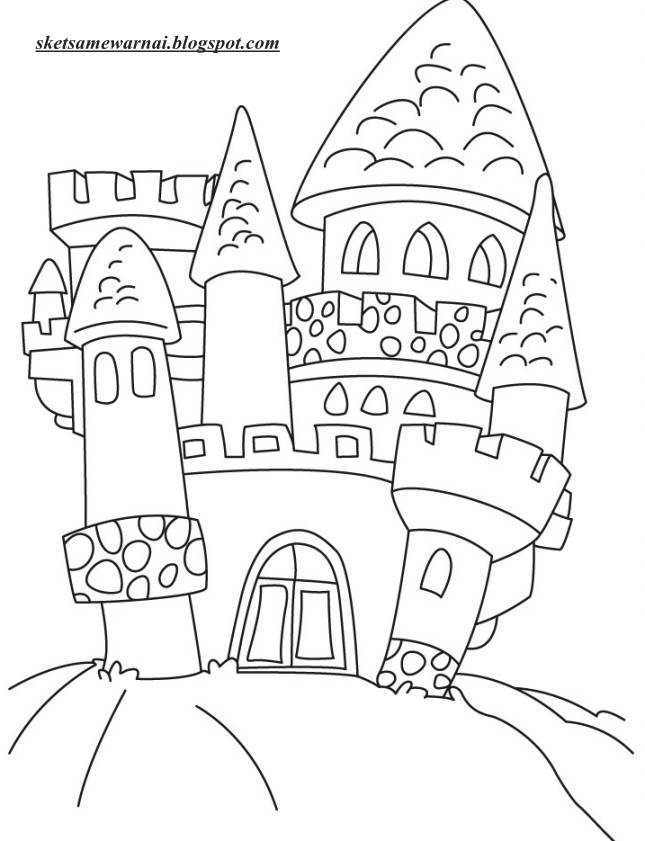 Sketsa Mewarnai Gambar Kastil Atau Istana Sketsa Mewarnai
