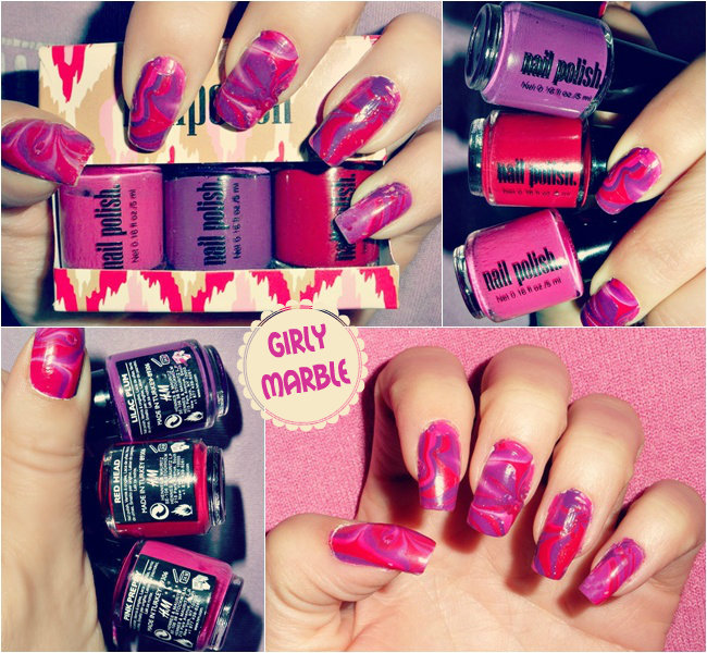 marble nails in pink red and pruple color, best marble nails ideas