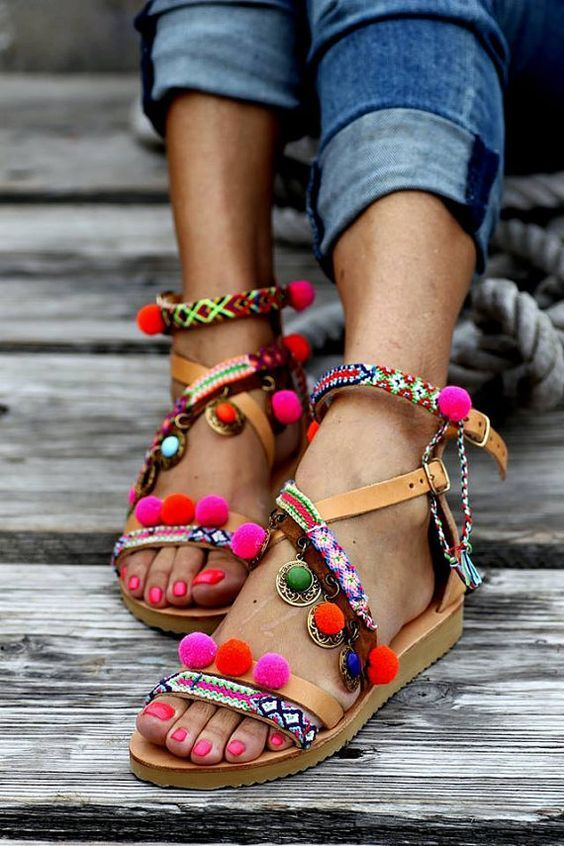 Lady in Jeans with Pretty Sandals