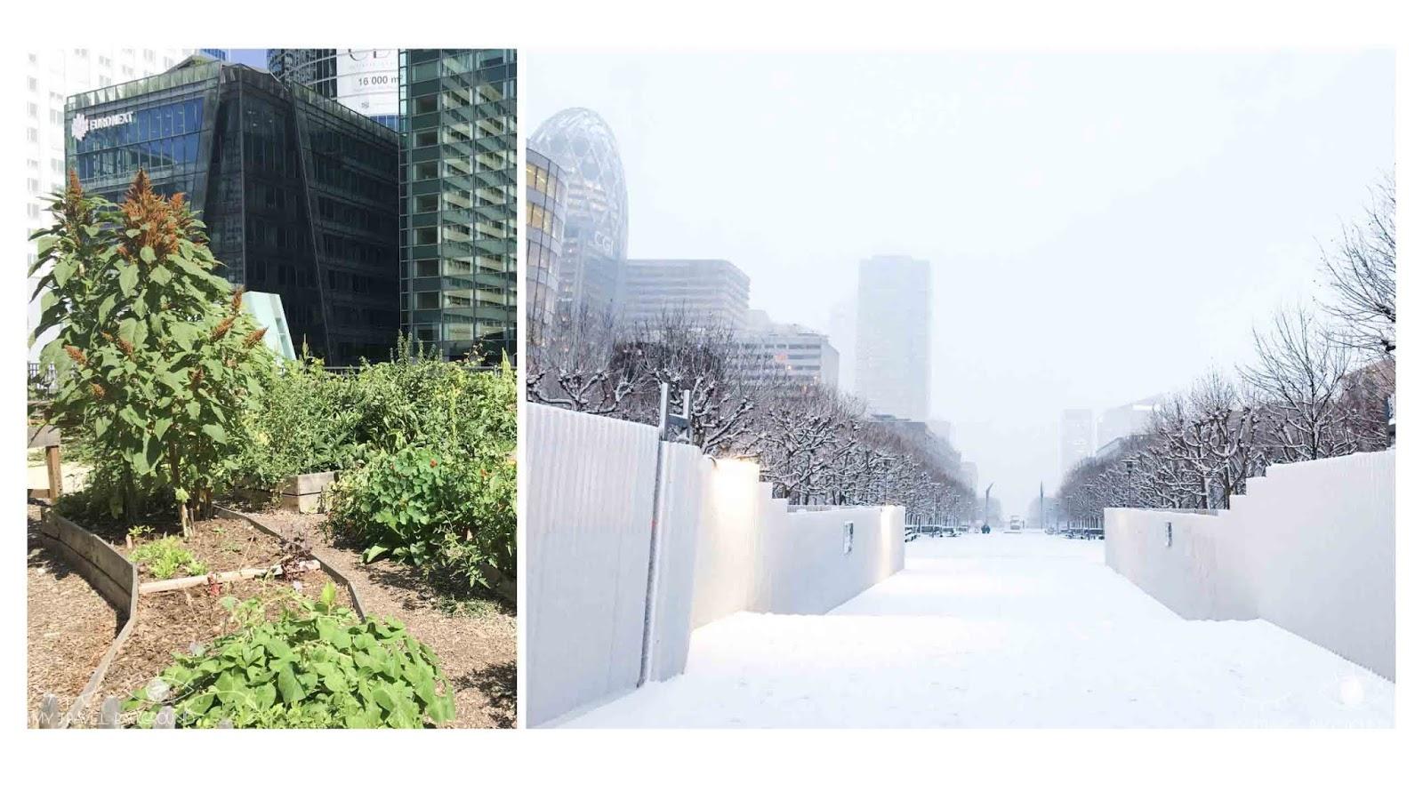 My Travel Background : Paris Promenade La Défense - Espace vert et La Défense sous la neige