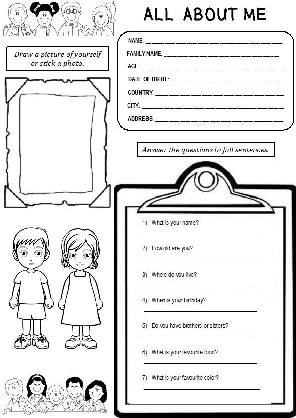 Enjoy Teaching English All About Me Worksheet