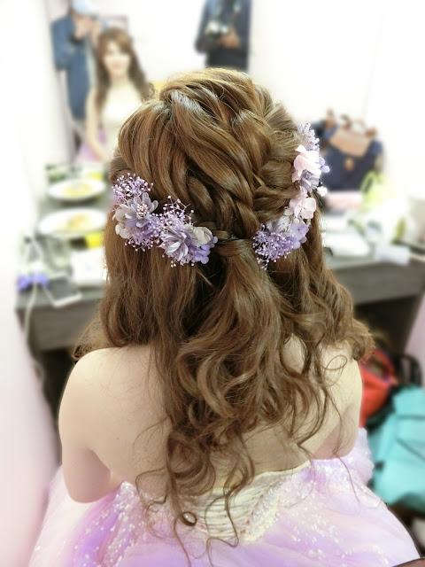 紫色系乾燥花|紫色系不凋花|粉紫色禮服|浪漫的乾燥花造型