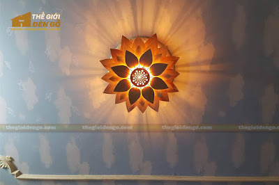 Thế Giới Đèn Gỗ - Đèn gỗ trang trí hoa sen