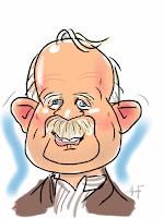 iPad karikatuur tekening van man met snor