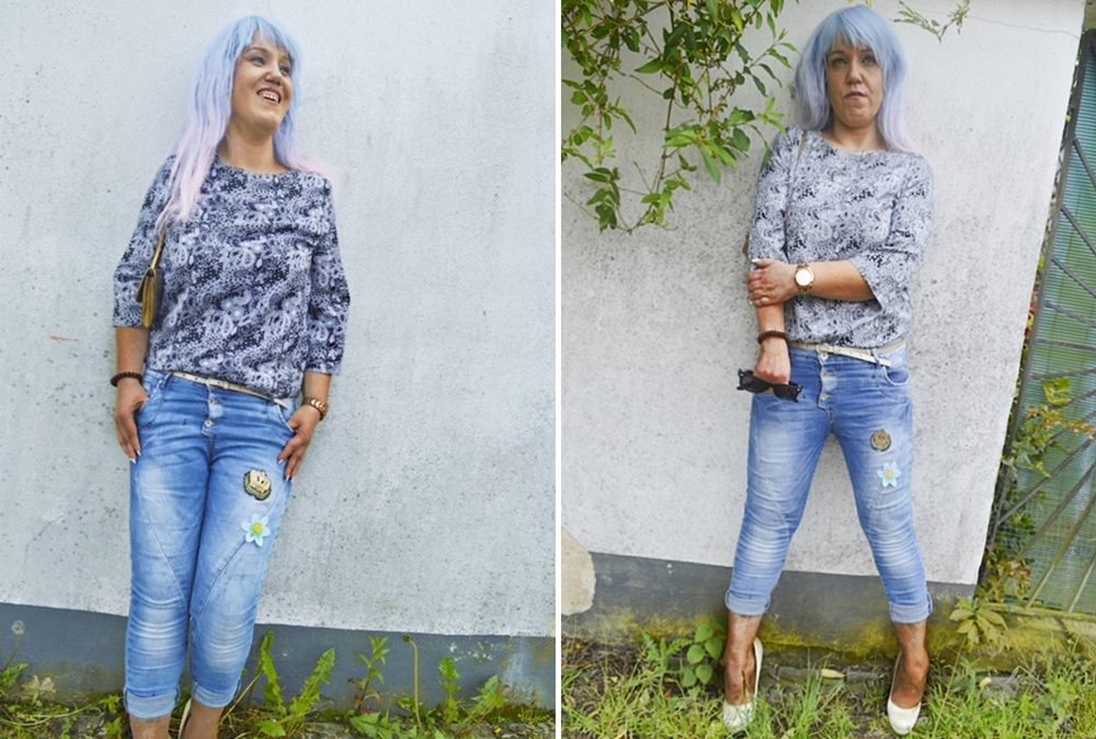 Paisley Print and Blue Denim Outfit Photos