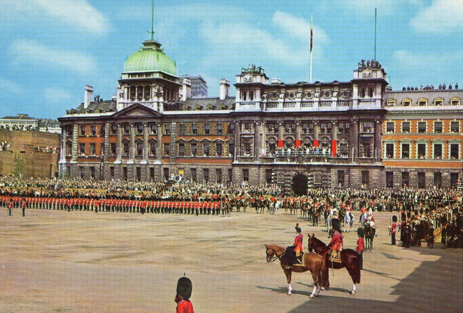 vintage, postcard, London, Trooping the Colour,