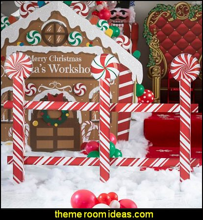 Christmas Candy Cane Fence   candy Christmas theme decorating - candy themed christmas decorations - christmas candyland decorations -  candy ornaments -  candy shaped holiday ornaments - candy themed Christmas decor -