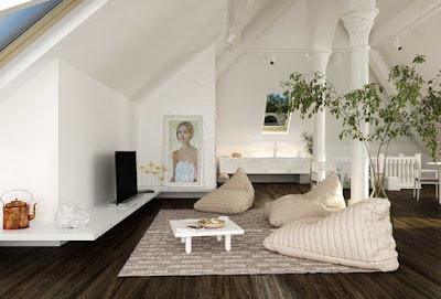 desain ruang keluarga dengan bean bag yang unik untuk ruangan minimalis
