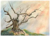 watercolor tree, colorful artworks, watercolor landscape