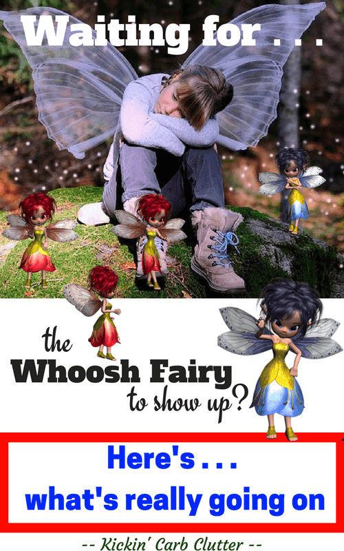 Pinterest Image: Whoosh Fairy is Waiting for Weight Loss; Fairies at Her Feet
