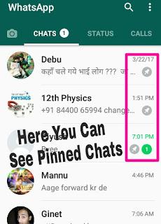 Pinned post on WhatsApp