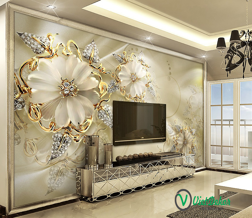 Tranh dán tường 3d hoa ngọc trai phòng ngủ