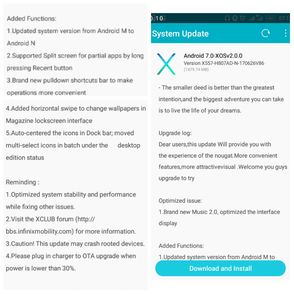 Infinix Hot 4 Official Android7 (Nougat) upgrade
