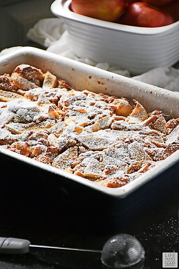 Apple Pie Bread Pudding dusted with sugar