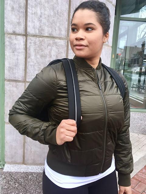 lululemon  olive non-stop-bomber-jacket