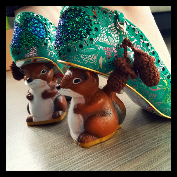 irregular choice nibbles mcnutty flocked squirrel heel detail