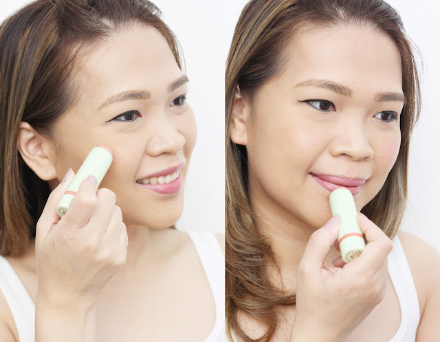a photo on how to use Pixi By Petra MultiBalm 2-in-1 Cheek & Lip  shades 58 Baby Petal