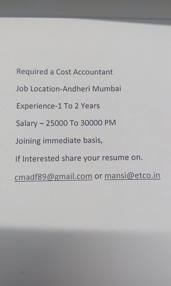 Require a Cost Accountant