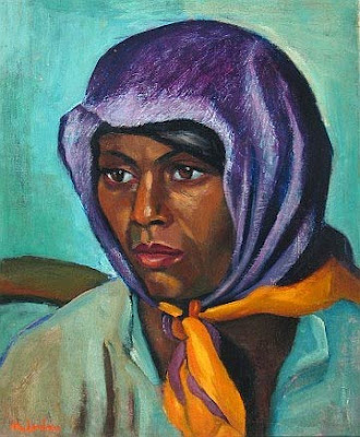 coloured woman with a purple headscarf, Maggie Laubser