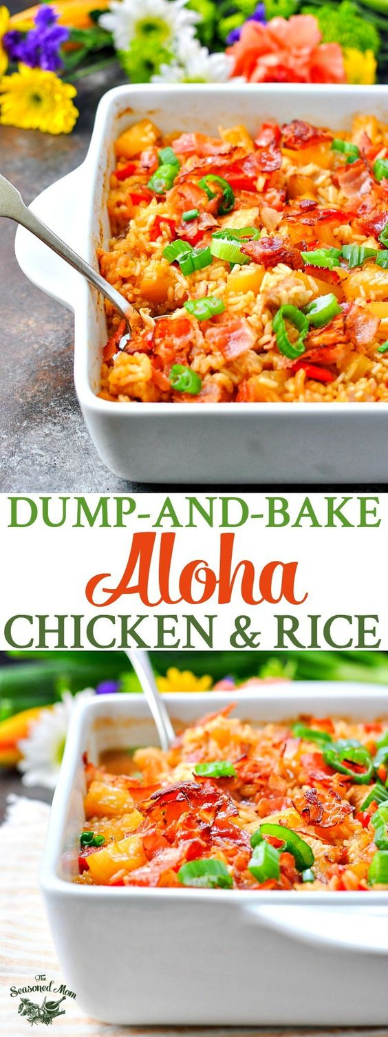 Dump-and-Bake Aloha Chícken and Ríce