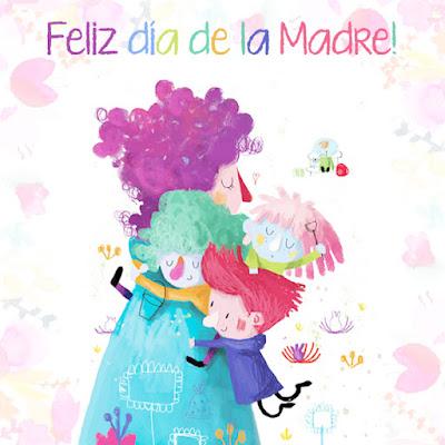 tarjeta dia de la madre ilustracion mama y niños