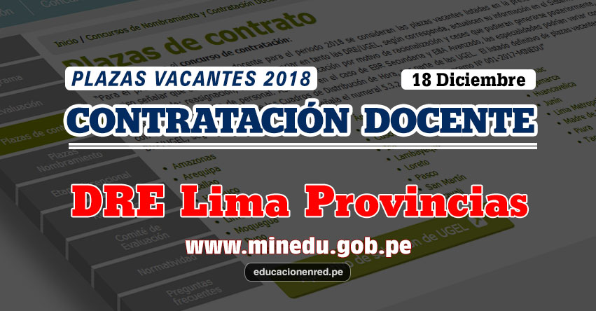 DRE Lima Provincias: Plazas Vacantes Contrato Docente 2018 (.PDF) www.drelp.gob.pe