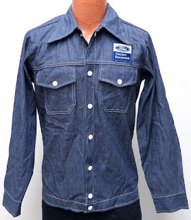 vtg FORD TRACTORS Blue Denim Shirt-Jac SMALL 70s White Snaps work jean Men S