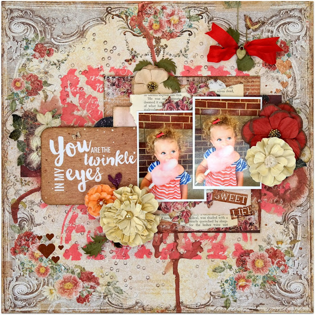 Sweet Life Mixed Media Shabby Chic Scrapbook Layout by Dana Tatar for Scraps of Darkness